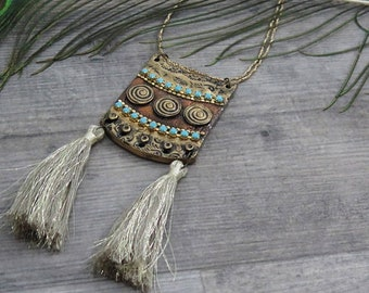 Clearance 50% Off Egyptian Jewelry,Long Necklace,Boho Jewelry,Bohemian Jewelry,Tassel Jewelry,Gypsy Jewelry,Unique Necklace,Hippie Jewelry
