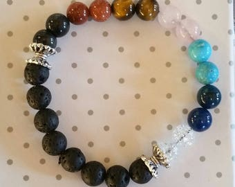 Bracelet of 7 chakras with lava stones