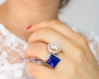LAPIS Ring-925 sterling silver ring with blue Lapis stone, natural stone, band ring, engagement ring, statement ring