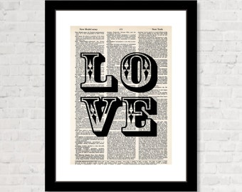 LOVE print - Large block letters with the word LOVE - Gift for Loved one - Love Gift  - Dictionary Art Print - Typography - Decor