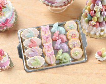 MTO-Easter Cookies and Rabbit Candies on Metal Baking Tray - Miniature Food in 12th Scale for Dollhouse