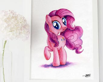 My Little Pony Pinkie Pie Print Watercolor painting Illustration Wall Decor Art Print Children's room decoration Relax-gift