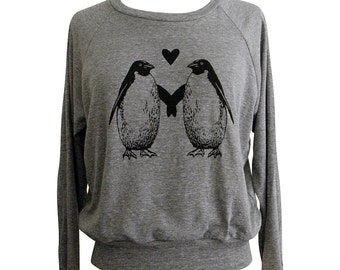 Penguin Love Raglan Sweatshirt - American Apparel SOFT vintage feel - Available in sizes S, M, L