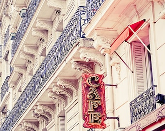 """Paris art print, Paris cafe photography, Paris in Red - """"Cafe de Paris"""""""