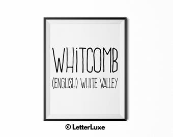 Whitcomb Name Meaning Art - Printable Baby Shower Gift - Nursery Printable Art - Digital Print - Nursery Decor - Typography Wall Decor