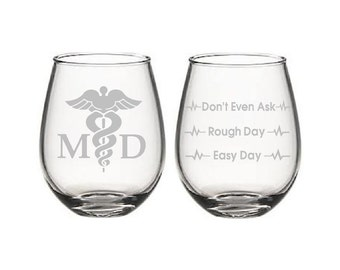 etched glasses,Medical Doctor etched,Good day Bad day,Etched wine glasses,birthday gifts,Christmas gifts,Funny Glass Sets,personalized gift