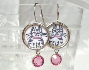 Kitty Dangly Earrings with pink Swarovski Crystals.