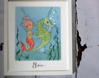 Personalised Seahorse framed print