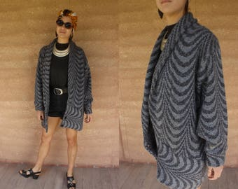 1980's thick knit winter cardigan jacket with cheshshire the cat animal pattern grunge punk  SM/M/L