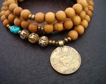 Women's Turquoise & Sandalwood Lotus Mala // Necklace and Wrap Bracelet // Yoga, Jewelry, Buddhist, Meditation, Prayer Beads, Jewelry
