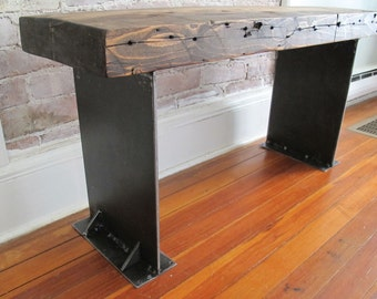 Wooden Bench with Industrial Metal Legs,Reclaimed wood from NYC