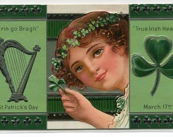 St Patrick's Day Young Woman True Irish Hearts Erin Go Bragh 1910c postcard
