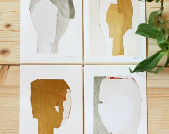 Modern Wall Art Gallery Set of 4 prints, Abstract Fine Art Collage Collection