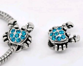 Authentic sterling silver Pandora charm blue crab silver diamond back for pandora charm bracelets and craft making * disney stock now in *