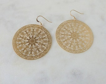 Delicate Bliss. Gold Filigree Disc Drop Earrings. mandela style earrings. gold earrings. statement earrings. delicate earrings. disc earring