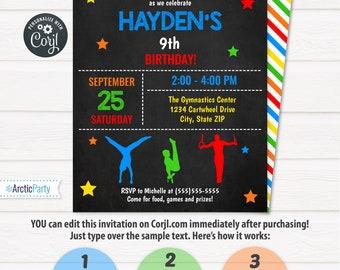 Gymnastics Invitations - Boys Gymnastics Birthday Invitations - Men's Gymnastics Invitation - Gymnastics Party - Edit NOW using Corjl.com!