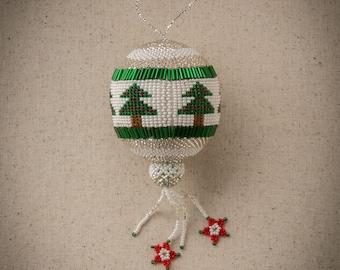 Beaded Ball Holiday Ornament, Beaded Christmas Tree Ornament, Guatemalan-made