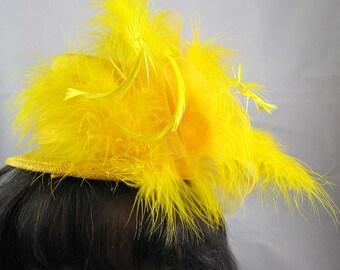 Yellow Top Hat Feather Fascinator Kentucky Derby Wedding Hat