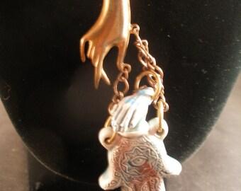 Raku ceramic hamsa khamsa bottle pendant  - On the Other Hand   - Judaicaonetsy,  olyteam, WWWG