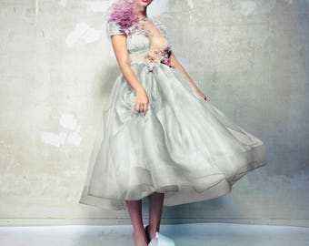 Wedding dress with silk painted blouse