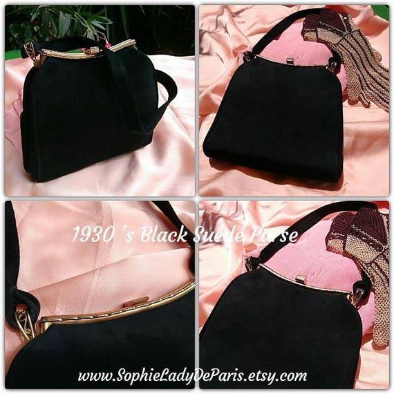 Art Deco Black Suede Purse French Handbag Moire Fabric Lined #sophieladydeparis