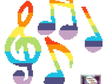 Rainbow Musical Notes (35) cross stitch chart pattern music treble clef pdf instant download printable
