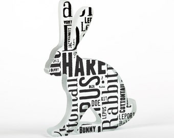 Words Hare Glass Sculpture Typography Font Print