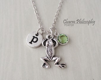 Frog Necklace - Antique Silver Frog Jewelry - Amphibian Jewelry - Monogram Personalized Initial and Birthstone