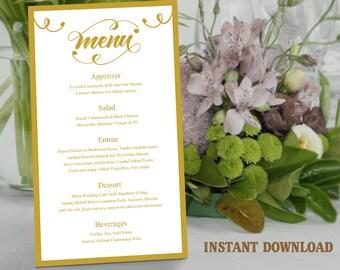 Printable Wedding Menu Template DIY Menu Card Template, Script Menu Template, Editable Menu, Gold Menu Download Calligraphy Menu, Swirl Menu