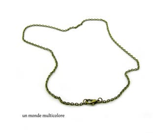 Necklace chain links, bronze 45 cm, flat oval