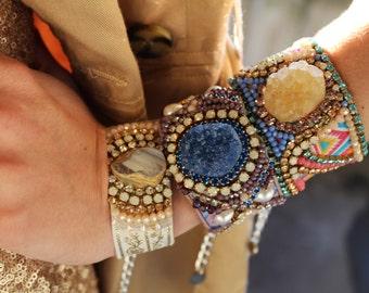 Crystal Friendship Bracelet Druzy Agate Cuff Bracelet Swarovski Bracelet Aztec Festival Bracelet Ethnic Jewelry Coachella Stone Bracelet