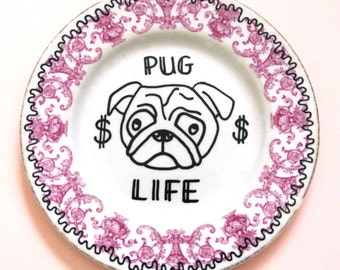 Pug Gift Thug Life Decorative Floral Plate Dog Lover Present for Her Gangsta Alternative Bridesmaid Party Favor Ornamental Wall Decor Pink