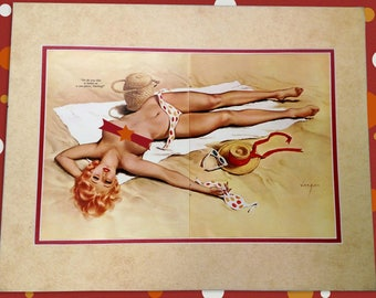Vargas Bikini Beach Pin-Up Girl 1960's - Authentic Vintage Matted Color Illustration