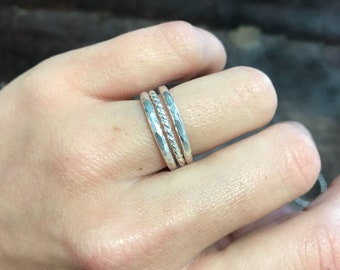 Sterling Silver stcakers-Size 6