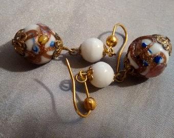 Wedding Cake Murano Bead Earrings