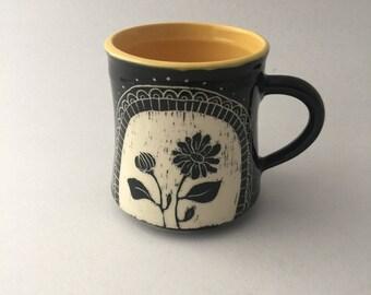 Hand Thrown Floral Calendula Pottery Mug