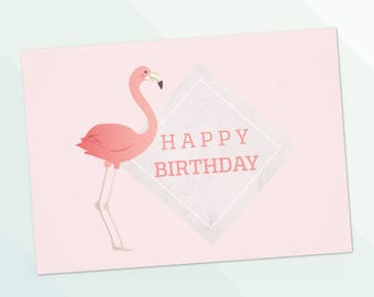 Flamingo Happy birthday instant download - cute card - PDF DIY Greeting card - Printable 6x4 inch pink flamingo