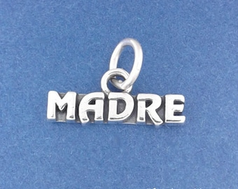 MADRE Charm .925 Sterling Silver Spanish Mom or Mother Pendant - f5343