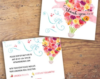 Printable Floral Hot Air Balloon Thank You Note- Companion to Invitation- Customizable, Roses, Watercolor, Flowers, Bright, Colorful