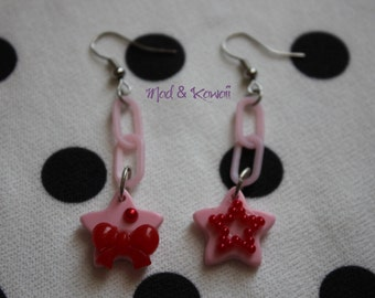 Pink and Red Star earrings