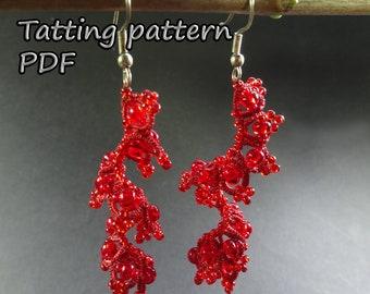 Tatting tutorial PDF tatting pattern Shuttle lace jewelry Frivolite Earrings Tating lace pattern Beadwork tatting earrings Shuttle tatting