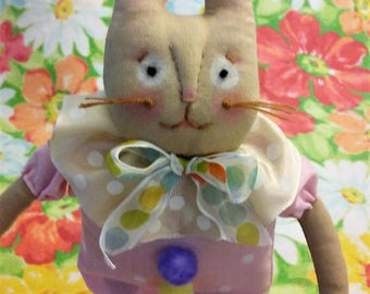 Happy Bunny Doll ~ One of a Kind ~ Primitive ~ Folk Art ~ Spring ~ Collectible ~ Easter Bunny Rabbit Doll
