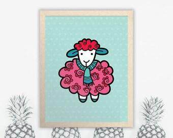 PRINTABLE Sheep Wall Art | Instant Digital Print Download | Original Doodle Design