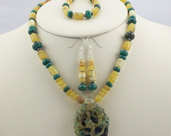 Lively Tree of Life Lampwork Focal, Necklace Set  (Bracelet Included)