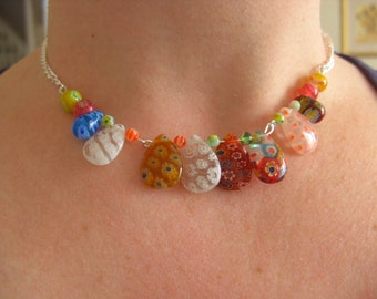 Summer, Millifiori, millifiore, Glass, necklace, mix colour, Rainbow, feature necklace, by NewellsJewels on etsy