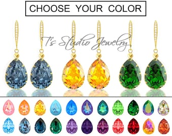 """CHOOSE YOUR COLOR Pear Shaped Crystal Bridesmaid Earrings - """"Mia"""" - Gold"""