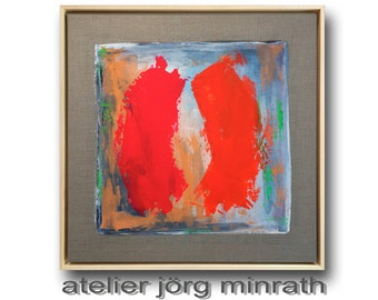 Abstract paintings - contemporary original - tree painting on wooden frame - 63.5 x 63.5 x 3,5 cm - incl. shadow gap frame - unique