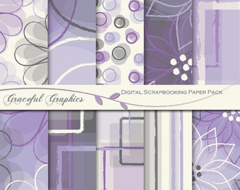 Scrapbook Paper Pack Digital Scrapbooking Background Papers 10 Sheets 8.5 x 11 Abstract Flowers Purple Gray 2029gg
