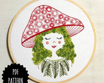 MUSHROOM GIRL - pdf embroidery pattern, embroidery hoop art, girl with moss hair, mushroom hat, forest girl, stitched mushroom and moss head