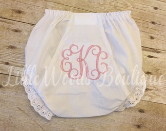 Monogrammed Eyelet Diaper Cover - White Bloomers - Baby Girl Bloomers - Diaper Cover - Vine Monogram